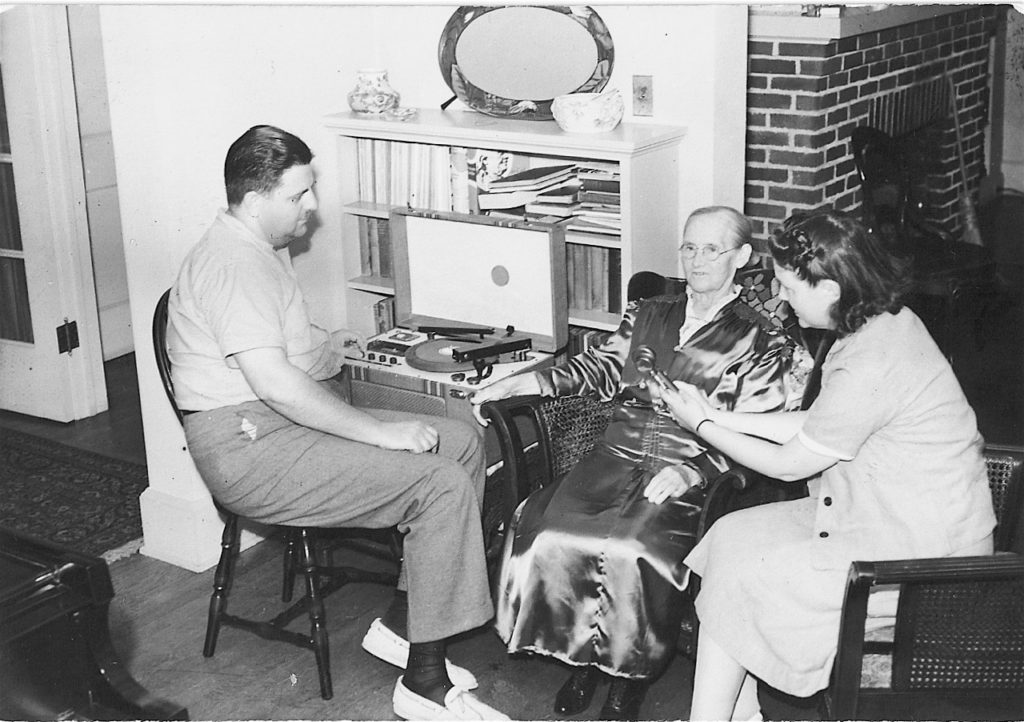 Frank and Anne Warner recording Rebecca King Jones, Durham NC, 1940.